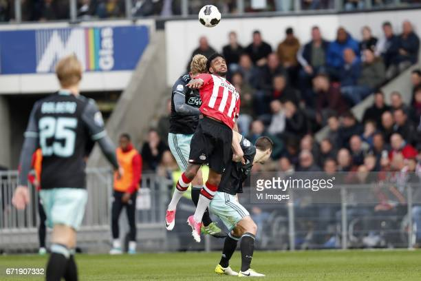 Kasper Dolberg of Ajax Matthijs de Ligt of Ajax Jurgen Locadia of PSV Nick Viergever of Ajaxduring the Dutch Eredivisie match between PSV Eindhoven...