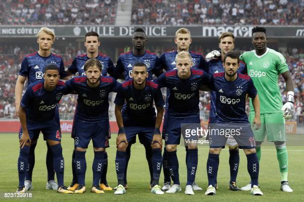 Kasper Dolberg of Ajax Nick Viergever of Ajax Davinson Sanchez of Ajax Matthijs de Ligt of Ajax Joel Veltman of Ajax goalkeeper Andre Onana of Ajax...