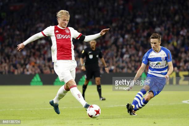 Kasper Dolberg of Ajax Ryan Thomas of PEC Zwolle during the Dutch Eredivisie match between Ajax Amsterdam and PEC Zwolle at the Amsterdam Arena on...