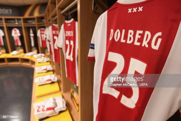 Kasper Dolberg of Ajax shirt hangs in the changing room prior to the UEFA Europa League Final between Ajax and Manchester United at Friends Arena on...