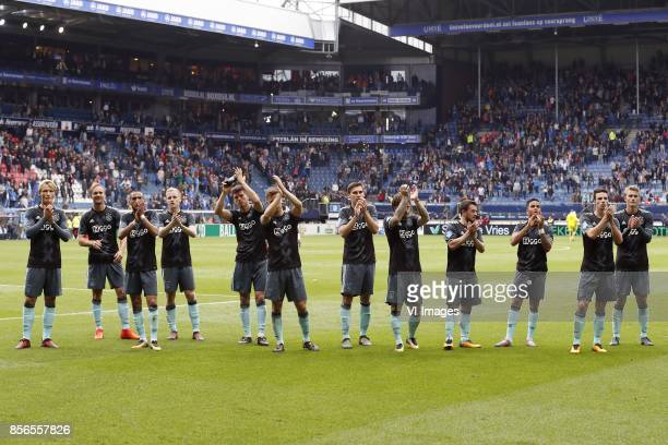 Kasper Dolberg of Ajax Siem de Jong of Ajax Hakim Ziyech of Ajax Donny van de Beek of Ajax Klaas Jan Huntelaar of Ajax Joel Veltman of Ajax...