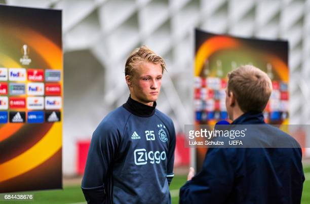 Kasper Dolberg of Ajax speaks to the media during the Ajax Media Day on May 18 2017 in Amsterdam Netherlands