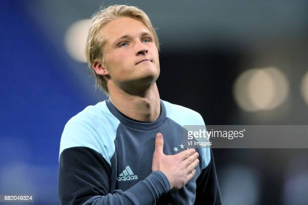 Kasper Dolberg of Ajaxduring the UEFA Europa League semi final match between Olympique Lyonnais and Ajax Amsterdam at Stade de Lyon on May 11 2017 in...