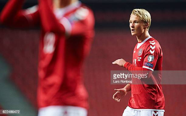 Kasper Dolberg of Denmark celebrates after the FIFA 2018 World Cup Qualifier match between Denmark and Kazakhstan at Telia Parken Stadium on November...