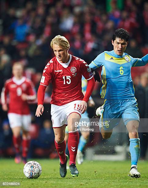 Kasper Dolberg of Denmark in action during the FIFA 2018 World Cup Qualifier match between Denmark and Kazakhstan at Telia Parken Stadium on November...