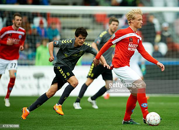 Kasper Dolberg of Silkeborg IF in action during the Danish Alka Superliga match between Silkeborg IF and Brondby IF at Mascot Park Silkeborg on May...