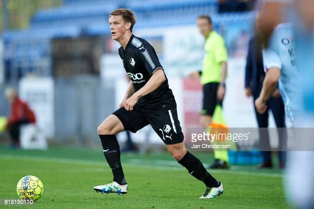Kasper Enghardt of Randers FC controls the ball during the Danish Alka Superliga match between SonderjyskE and Randers FC at Sydbank Park on July 15...