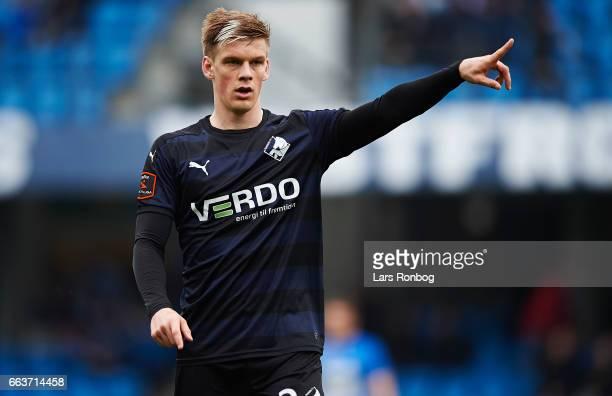 Kasper Enghardt of Randers FC gestures during the Danish Alka Superliga match between Esbjerg fB and Randers FC at Blue Water Arena on April 2 2017...