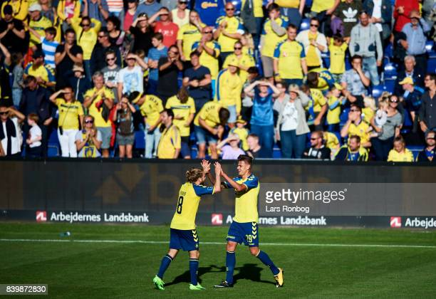 Kasper Fisker and Jan Kliment of Brondby IF celebrate after scoring their second goal during the Danish Alka Superliga match between Brondby IF and...
