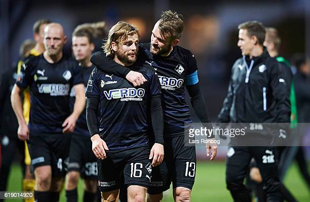 Kasper Fisker and Mads Fenger of Randers FC celebrate after the Danish Alka Superliga match between Lyngby BK and Randers FC at Lyngby Stadion on...