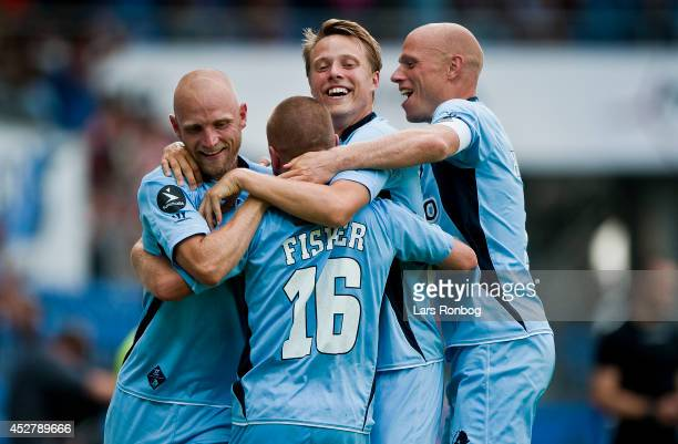 Kasper Fisker Jensen and his teammates of Randers FC celebrate after scoring their second goal during the Danish Superliga match between Randers FC...