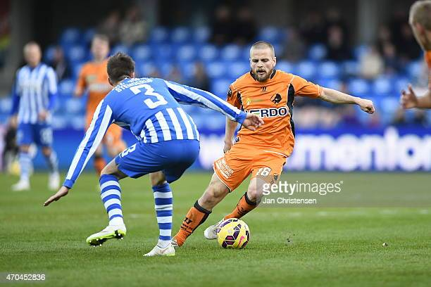 Kasper Fisker Jensen of Randers FC fight for the ball during the Danish Alka Superliga match between Esbjerg fB and Randers FC at Blue Water Arena on...