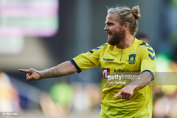 Kasper Fisker of Brondby IF celebrates after scoring their second goal during the UEFA Europa League Qualification match between Brondby IF and VPS...