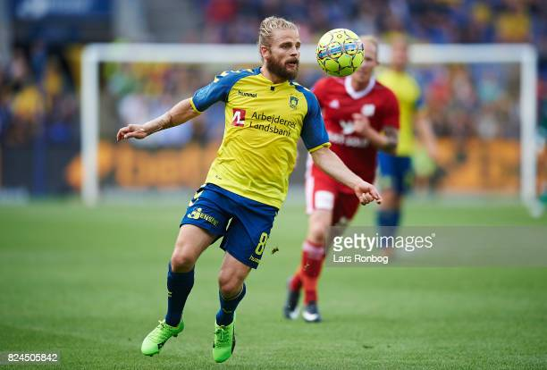 Kasper Fisker of Brondby IF controls the ball during the Danish Alka Superliga match between Brondby IF and Lyngby BK at Brondby Stadion on July 30...