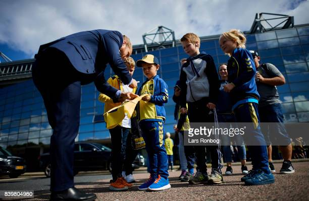 Kasper Fisker of Brondby IF signing autographs for young fans prior to the Danish Alka Superliga match between Brondby IF and AC Horsens at Brondby...