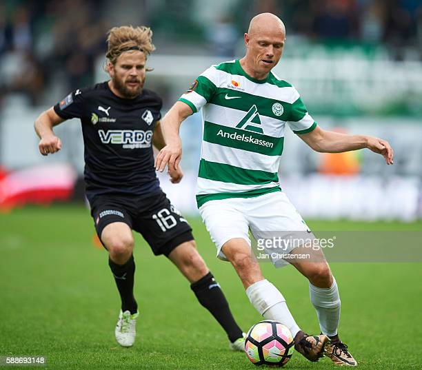 Kasper Fisker of Randers FC and Christian Keller of Viborg FF in action during the Danish Alka Superliga match between Viborg FF and Randers FC at...