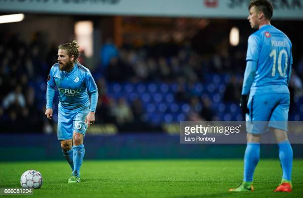 Kasper Fisker of Randers FC and Marvin Pourie of Randers FC waiting to take a free kick during the Danish Alka Superliga match between Randers FC and...