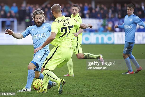 Kasper Fisker of Randers FC and Robin Söder of Esbjerg fB compete for the ball during the Danish Alka Superliga match between Randers FC and Esbjerg...