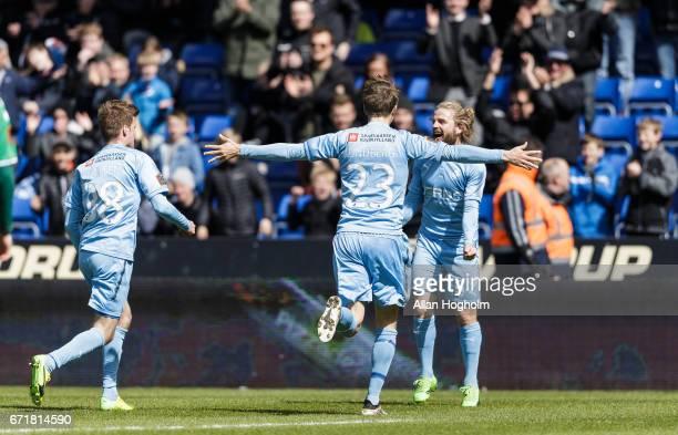 Kasper Fisker of Randers FC and Viktor Lundberg of Randers FC celebrates after scoring their second goal during the Danish Alka Superliga match...