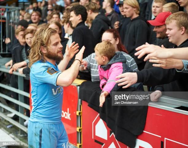 Kasper Fisker of Randers FC celebrating with fans after the Danish Alka Superliga match between Randers FC and AaB Aalborg at BioNutria Park Randers...