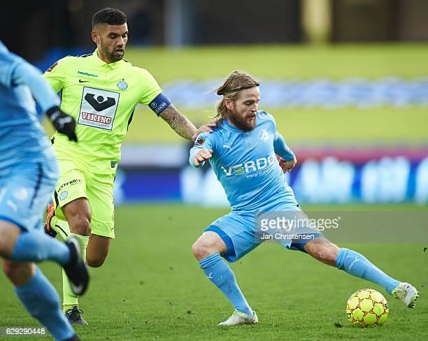 Kasper Fisker of Randers FC compete for the ball during the Danish Alka Superliga match between Randers FC and Esbjerg fB at BioNutria Park Randers...