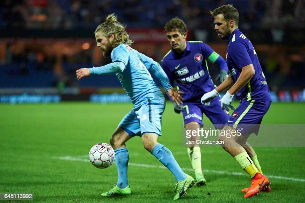 Kasper Fisker of Randers FC compete for the ball during the Danish Alka Superliga match between Randers FC and FC Midtjylland at BioNutria Park...