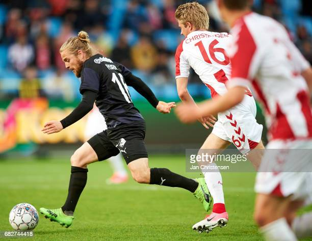 Kasper Fisker of Randers FC compete for the ball during the Danish Alka Superliga match between AaB Aalborg and Randers FC at Aalborg Portland Park...