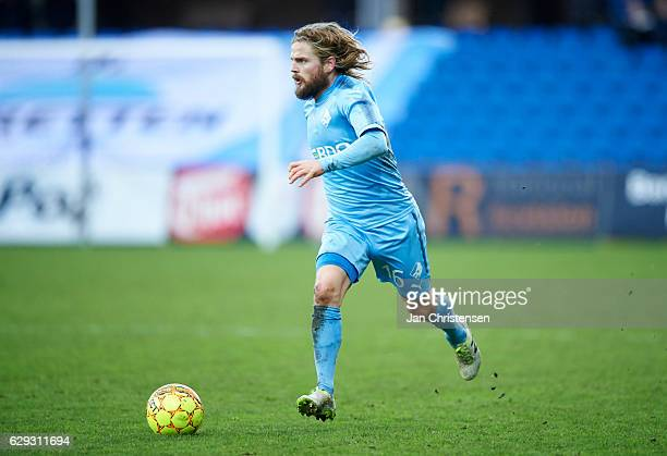 Kasper Fisker of Randers FC controls the ball during the Danish Alka Superliga match between Randers FC and Esbjerg fB at BioNutria Park Randers on...