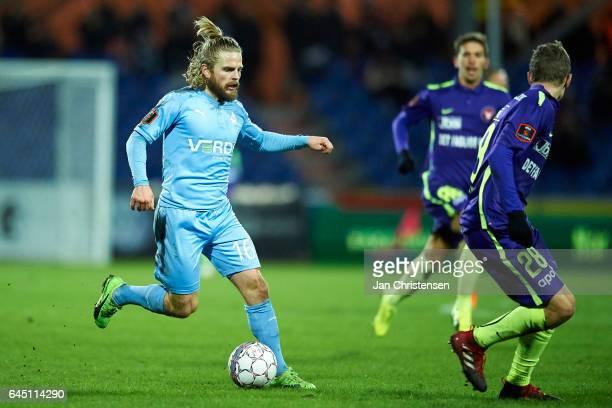 Kasper Fisker of Randers FC controls the ball during the Danish Alka Superliga match between Randers FC and FC Midtjylland at BioNutria Park Randers...