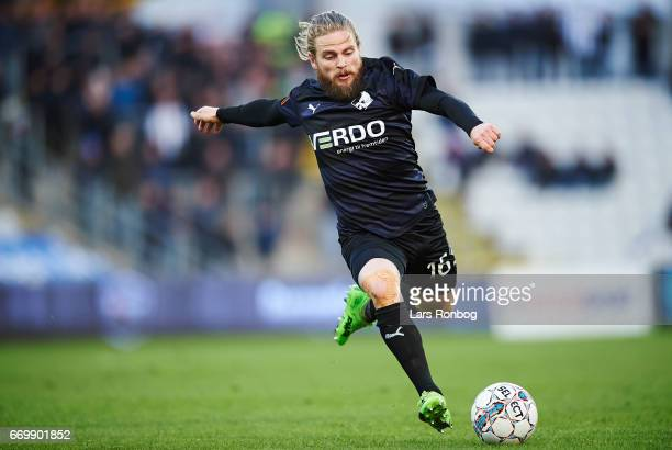 Kasper Fisker of Randers FC controls the ball during the Danish Alka Superliga match between OB Odense and Randers FC at EWII Park on April 18 2017...