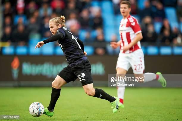 Kasper Fisker of Randers FC controls the ball during the Danish Alka Superliga match between AaB Aalborg and Randers FC at Aalborg Portland Park on...