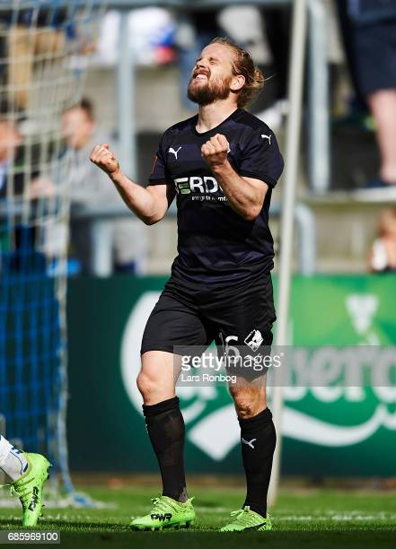Kasper Fisker of Randers FC gestures during the Danish Alka Superliga match between OB Odense and Randers FC at EWII Park on May 20 2017 in Odense...