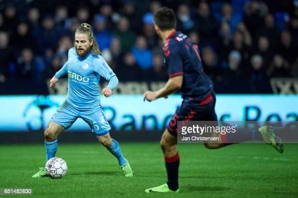 Kasper Fisker of Randers FC in action during the Danish Alka Superliga match between Randers FC and AGF Arhus at BioNutria Park Randers on March 10...