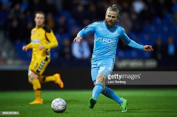 Kasper Fisker of Randers FC in action during the Danish Alka Superliga match between Randers FC and AC Horsens at BioNutria Park on April 7 2017 in...