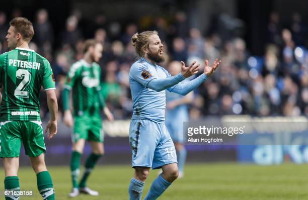 Kasper Fisker of Randers FC in action during the Danish Alka Superliga match between Randers FC and OB Odense at BioNutria Park on April 23 2017 in...