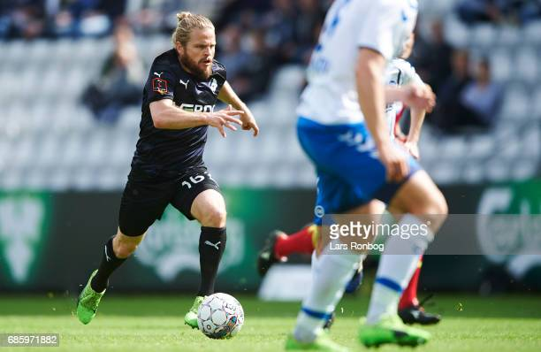 Kasper Fisker of Randers FC in action during the Danish Alka Superliga match between OB Odense and Randers FC at EWII Park on May 20 2017 in Odense...