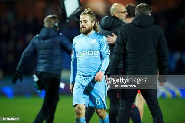 Kasper Fisker of Randers FC looks dejected after the Danish Alka Superliga match between Randers FC and AGF Arhus at BioNutria Park Randers on March...