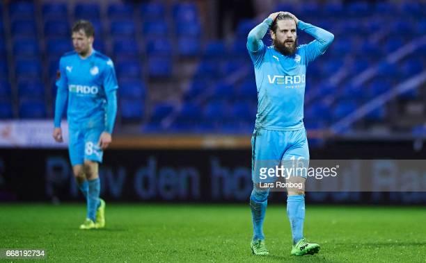 Kasper Fisker of Randers FC looks dejected during the Danish Cup DBU Pokalen quarterfinal match between Randers FC and Brondby IF at BioNutria Park...