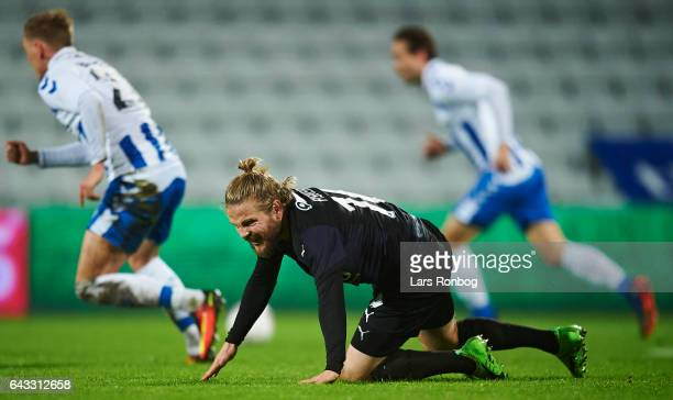 Kasper Fisker of Randers FC shows frustration during the Danish Alka Superliga match between OB Odense and Randers FC at EWII Park on February 20...
