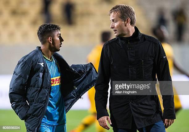 Kasper Hjulmand head coach of FC Nordsjalland and Adnan Mohammad of FC Nordsjalland talking after the Danish Alka Superliga match between AC Horsens...