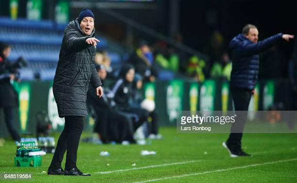 Kasper Hjulmand head coach of FC Nordsjalland and Alexander Zorniger head coach of Brondby IF gesture during the Danish Alka Superliga match between...