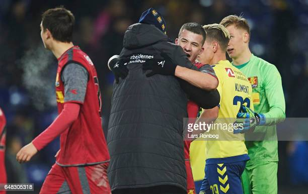 Kasper Hjulmand head coach of FC Nordsjalland and Karlo Bartolec of FC Nordsjalland celebrate after the Danish Alka Superliga match between Brondby...
