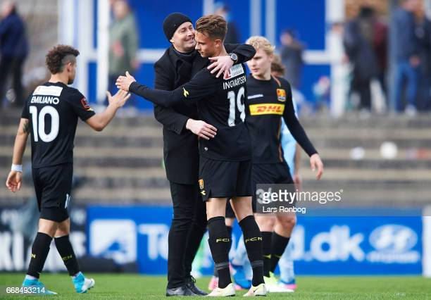 Kasper Hjulmand head coach of FC Nordsjalland and Marcus Ingvartsen of FC Nordsjalland celebrate after the Danish Alka Superliga match between...