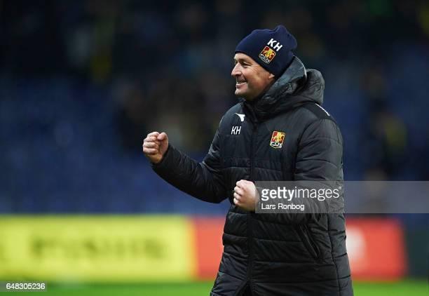 Kasper Hjulmand head coach of FC Nordsjalland celebrates after the Danish Alka Superliga match between Brondby IF and FC Nordsjalland at Brondby...