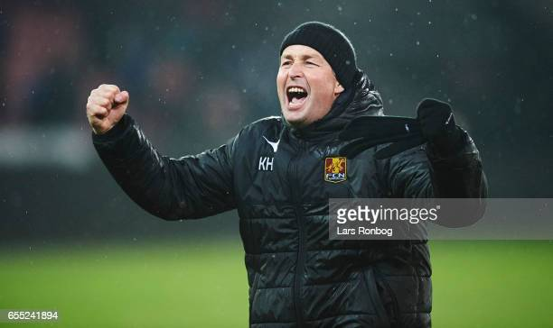 Kasper Hjulmand head coach of FC Nordsjalland celebrates after the Danish Alka Superliga match between FC Midtjylland and FC Nordsjalland at MCH...
