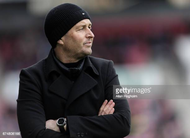 Kasper Hjulmand head coach of FC Nordsjalland during the Danish Alka Superliga match between FC Midtjylland and FC Nordsjalland at MCH Arena on April...