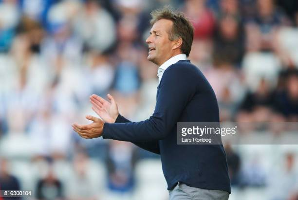 Kasper Hjulmand head coach of FC Nordsjalland gestures during the Danish Alka Superliga match between OB Odense and FC Nordsjalland at EWII Park on...