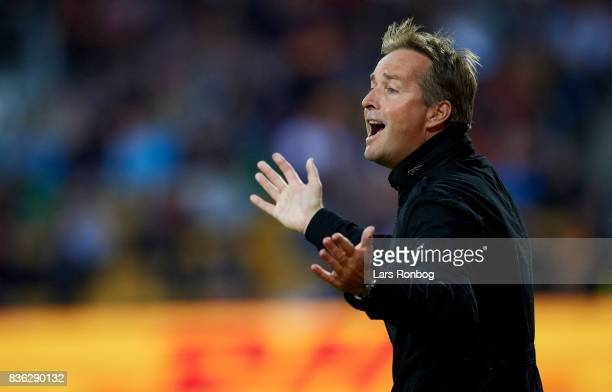 Kasper Hjulmand head coach of FC Nordsjalland gestures during the Danish Alka Superliga match between FC Nordsjalland and FC Helsingor at Right to...