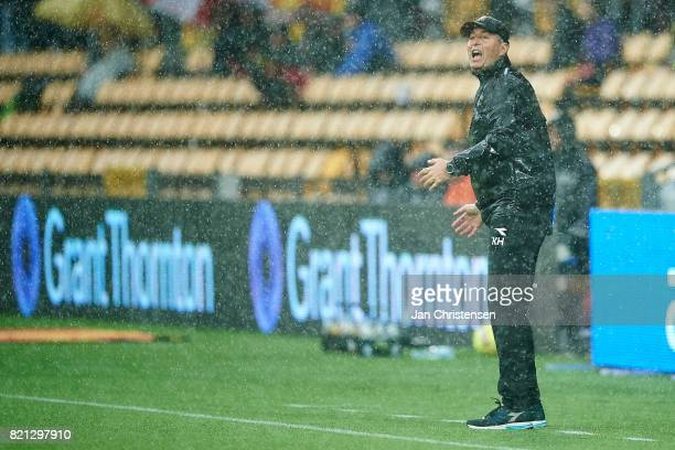 Kasper Hjulmand head coach of FC Nordsjalland gives instructions during the Danish Alka Superliga match between FC Nordsjalland and Brondby IF at...