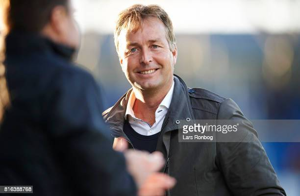 Kasper Hjulmand head coach of FC Nordsjalland looking happy during the Danish Alka Superliga match between OB Odense and FC Nordsjalland at EWII Park...